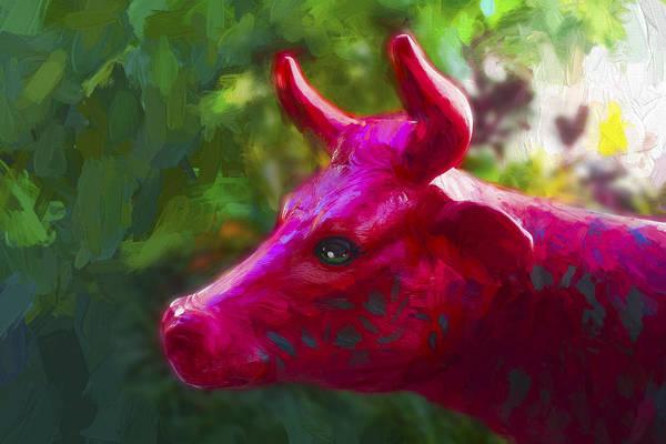 Photograph - Red Cow Statue - Miami Beach Series 08 by Carlos Diaz