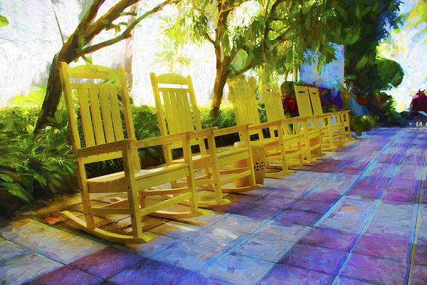Photograph - Yellow Rocking Chairs - Miami Beach Series 09 by Carlos Diaz