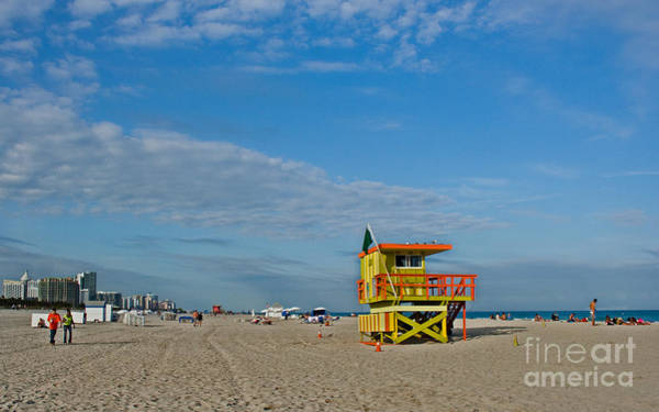 Wall Art - Photograph - Miami Beach With Lifeguard Stand by Barbara McMahon