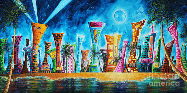 South Beach Painting - Miami City South Beach Original Painting Tropical Cityscape Art Miami Night Life By Madart Absolut X by Megan Duncanson
