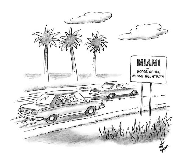 Highway Drawing - Miami:  Home Of The Miami Relatives by Frank Cotham