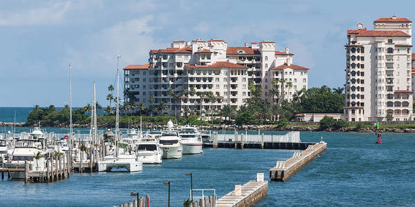 Photograph - Miami Marina And Fisher Island by Ed Gleichman