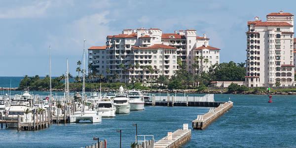 Photograph - Miami Marina And Fisher Island by Ed Gleichman