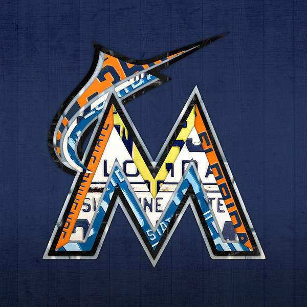 Team Mixed Media - Miami Marlins Baseball Team Vintage Logo Recycled Florida License Plate Art by Design Turnpike