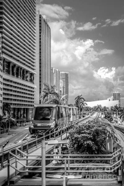 Dade Photograph - Miami Metro Mover Approaching Station - Black And White by Ian Monk
