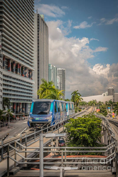 Dade Photograph - Miami Metro Mover Approaching Station - Hdr Style by Ian Monk