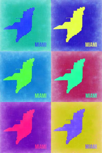 Florida Painting - Miami Pop Art Map 3 by Naxart Studio