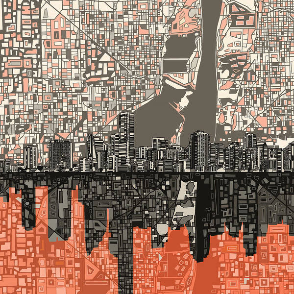 Florida City Painting - Miami Skyline Abstract 2 by Bekim Art