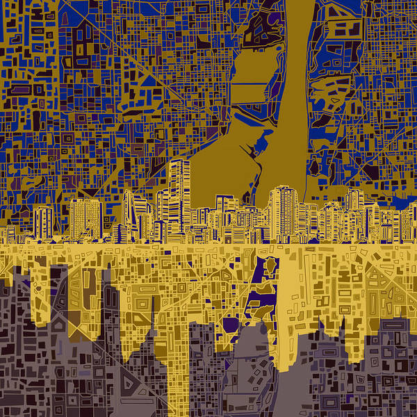 Florida City Painting - Miami Skyline Abstract 3 by Bekim Art