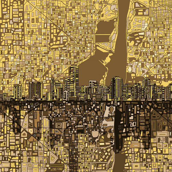 Florida City Painting - Miami Skyline Abstract 6 by Bekim Art