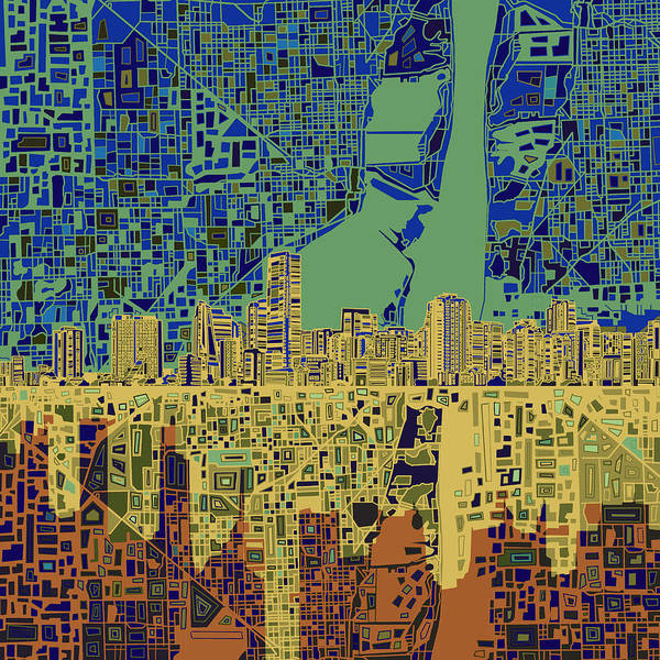 Florida City Painting - Miami Skyline Abstract 7 by Bekim Art