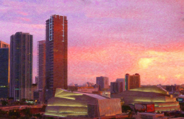 Painting - Miami Skyline At Dusk by Dean Wittle