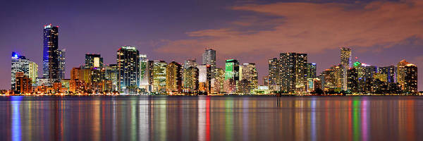 Cities Photograph - Miami Skyline At Dusk Sunset Panorama by Jon Holiday