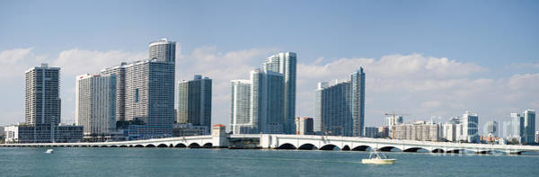 Photograph - Miami Skyline With Venetian Causeway by Les Palenik