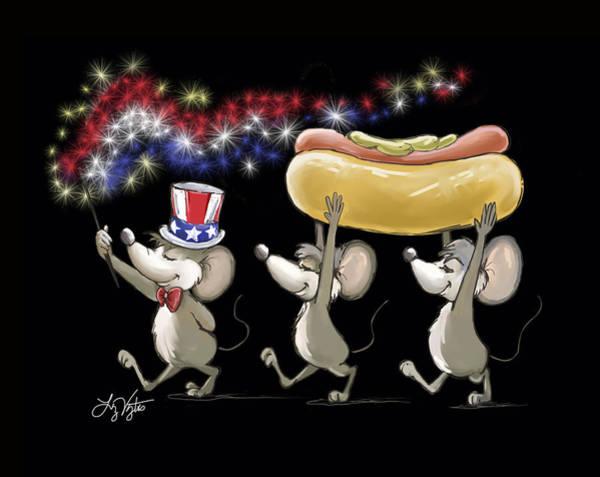 Cookout Digital Art - Mic Mac And Moe's 4th Of July Night Picnic by Liz Viztes