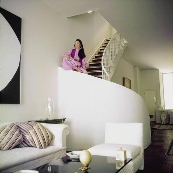 Curve Photograph - Mica Ertegun At Home by Horst P. Horst