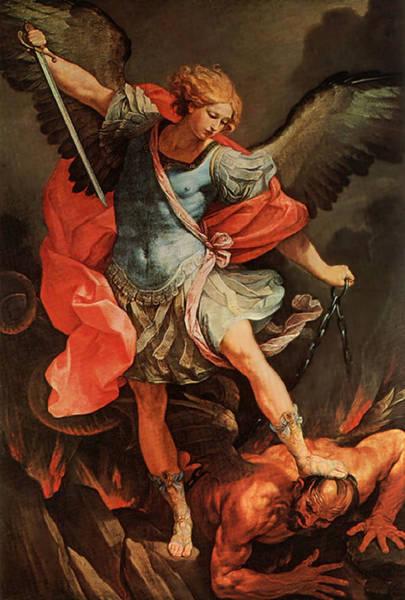 Painting - Michael Defeats Satan by Guido Reni