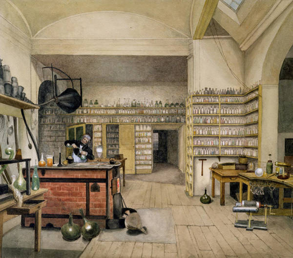 Experiment Wall Art - Photograph - Michael Faraday 1791-1867 In His Basement Laboratory, 1852 Wc On Paper by Harriet Jane Moore