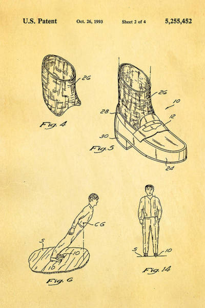 Michael Jackson Photograph - Michael Jackson Anti Gravity Boot 2 Patent Art 1993 by Ian Monk