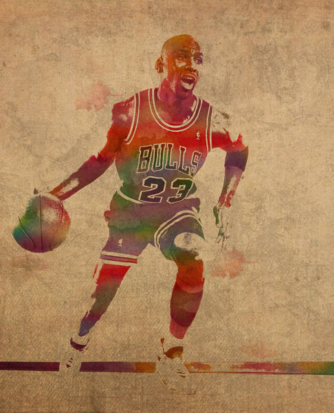 Wall Art - Mixed Media - Michael Jordan Chicago Bulls Vintage Basketball Player Watercolor Portrait On Worn Distressed Canvas by Design Turnpike