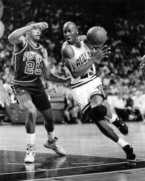 Chicago Bulls Photograph - Michael Jordan Driving To The Basket by Retro Images Archive