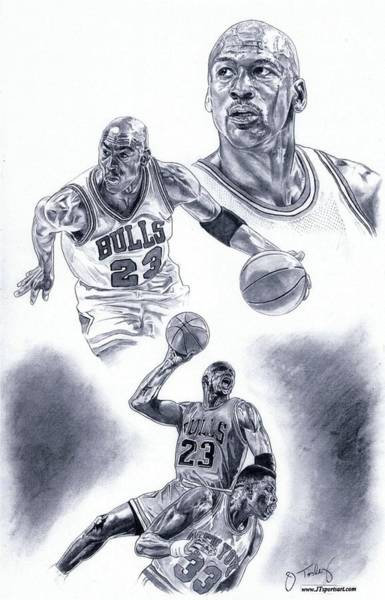 Vintage Chicago Drawing - Michael Jordan by Jonathan Tooley