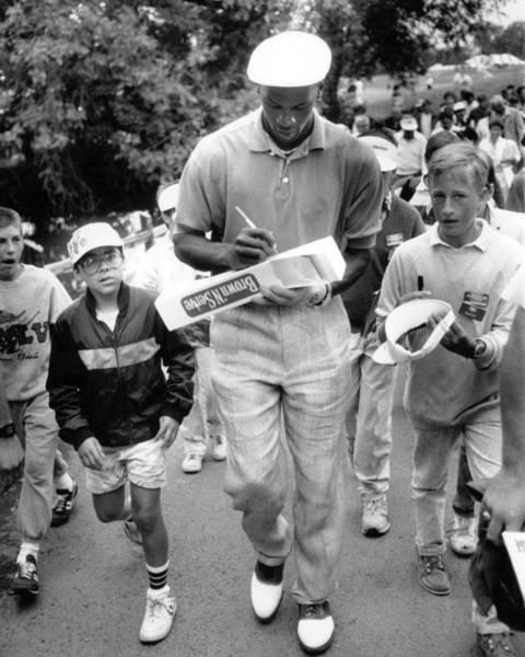 Chicago Bulls Photograph - Michael Jordan Signing Autographs by Retro Images Archive