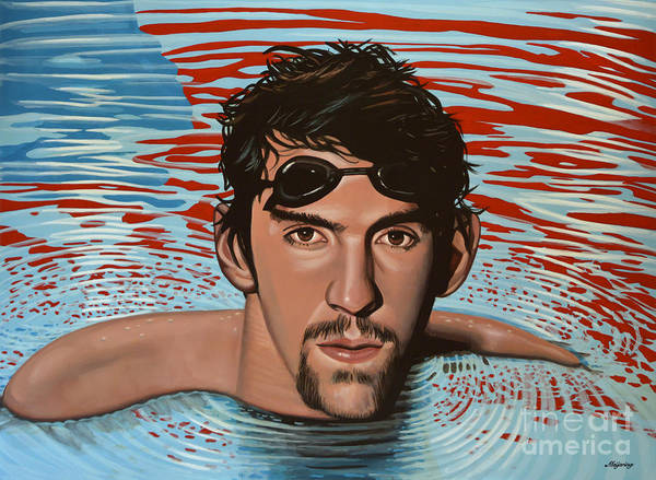 Blue Hair Wall Art - Painting - Michael Phelps by Paul Meijering