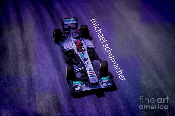Racer Digital Art - Michael Schumacher by Marvin Spates