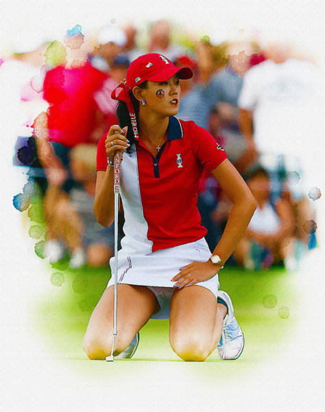 British Open Digital Art - Michelle Wie Of The Usa Solhiem Cup Reacts After Missing A Putt by Don Kuing