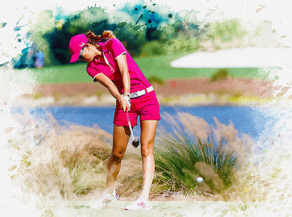 British Open Digital Art - Michelle Wie Plays A Shot On The 6th Hole by Don Kuing