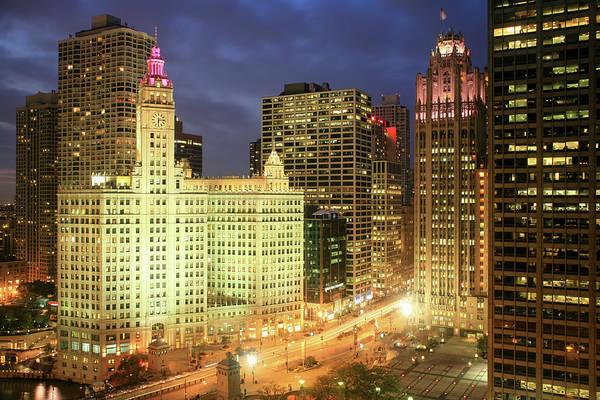 Chicago Tribune Wall Art - Photograph - Michigan Avenue Wrigley Building At by Hisham Ibrahim