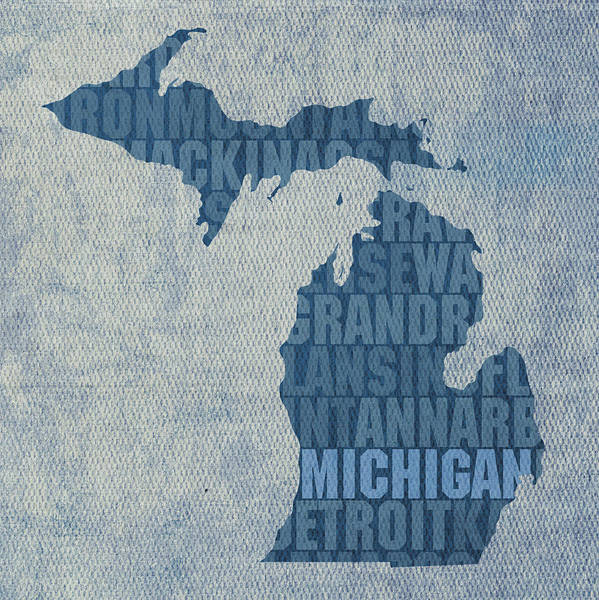Words Mixed Media - Michigan Great Lake State Word Art On Canvas by Design Turnpike