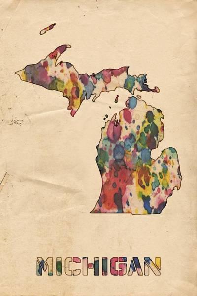 Painting - Michigan Map Vintage Watercolor by Florian Rodarte