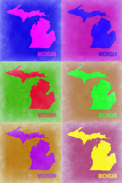 Wall Art - Painting - Michigan Pop Art Map 2 by Naxart Studio