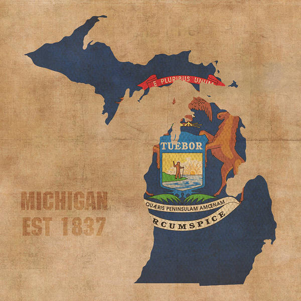 Background Mixed Media - Michigan State Flag Map Outline With Founding Date On Worn Parchment Background by Design Turnpike