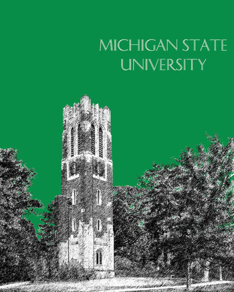 Graduation Digital Art - Michigan State University - Forest Green by DB Artist