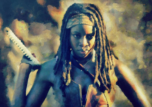The Walking Dead Painting - Michonne by Janice MacLellan