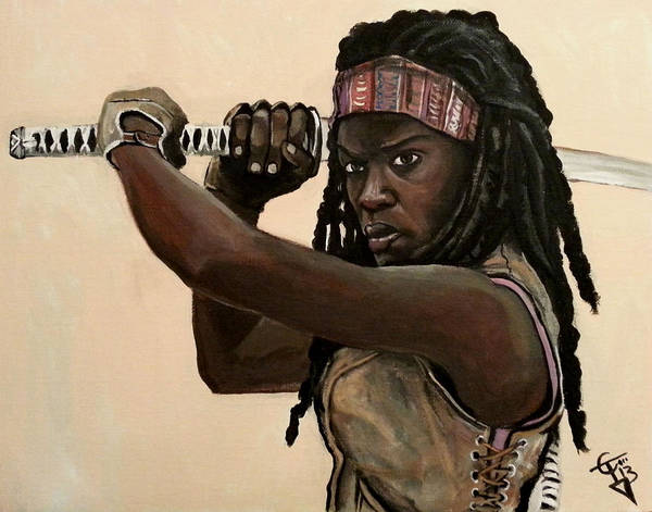 The Walking Dead Painting - Michonne by Tom Carlton