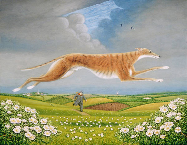 Jumping Photograph - Mick The Miller, 1992 Oils And Tempera On Panel by Frances Broomfield