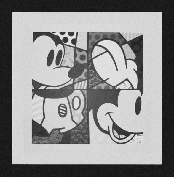 Walt Disney Word Photograph - Mickey In Black And White by Rob Hans