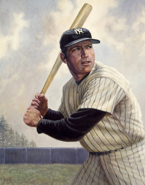 Hitter Painting - Mickey Mantle by Gregory Perillo