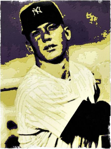 Mickey Mantle Wall Art - Painting - Mickey Mantle Poster Art by Florian Rodarte