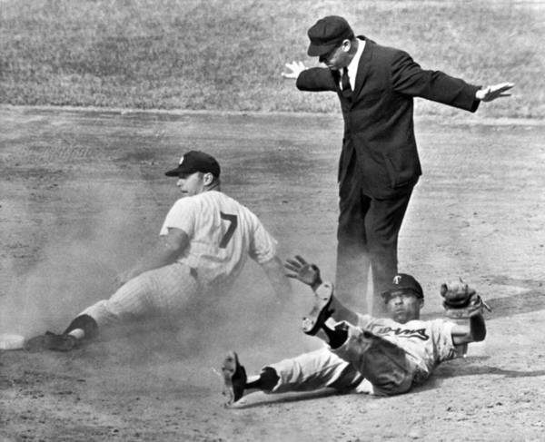 Baseballs Photograph - Mickey Mantle Steals Second by Underwood Archives