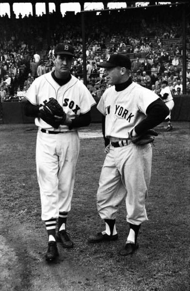 Fenway Photograph - Mickey Mantle With Ted Williams by Retro Images Archive