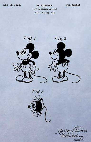 Wall Art - Digital Art - Mickey Mouse Patent by Dan Sproul