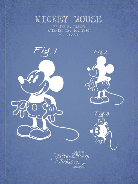 Wall Art - Digital Art - Mickey Mouse Patent Drawing From 1930 - Light Blue by Aged Pixel