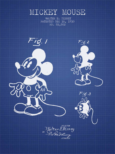 Wall Art - Digital Art - Mickey Mouse Patent From 1930- Blueprint by Aged Pixel
