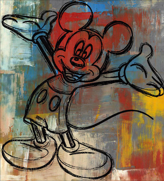 Disney World Digital Art - Mickey Mouse Sketchy Hello by Paulette B Wright