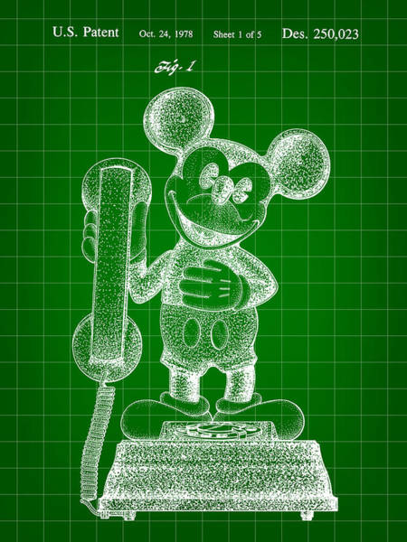 Disney World Digital Art - Mickey Mouse Telephone Patent 1978 - Green by Stephen Younts